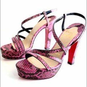 Christina Louboutin Miss Dina Pink Python Sandals